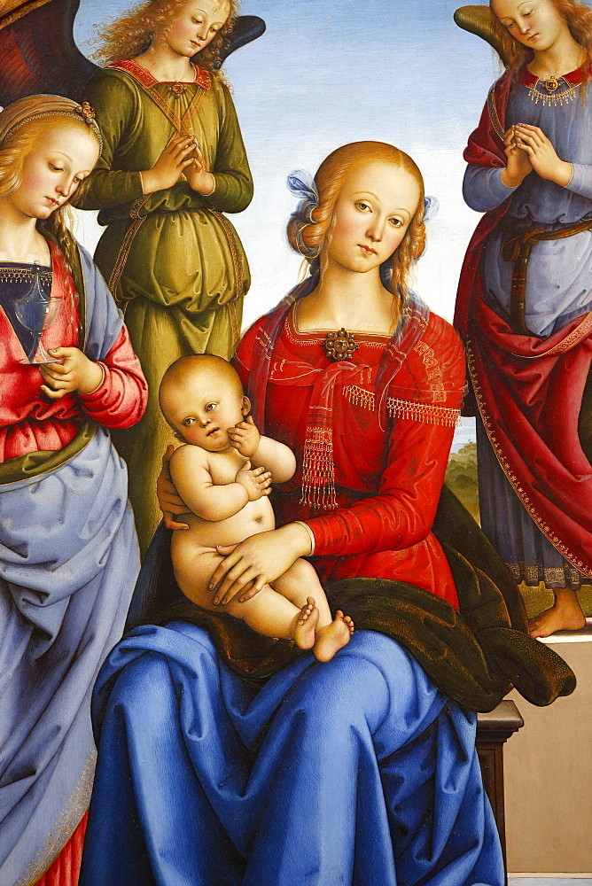Virgin with Child flanked by two angels by Pietro Vannucci, painted 1490, Pais, France, Europe
