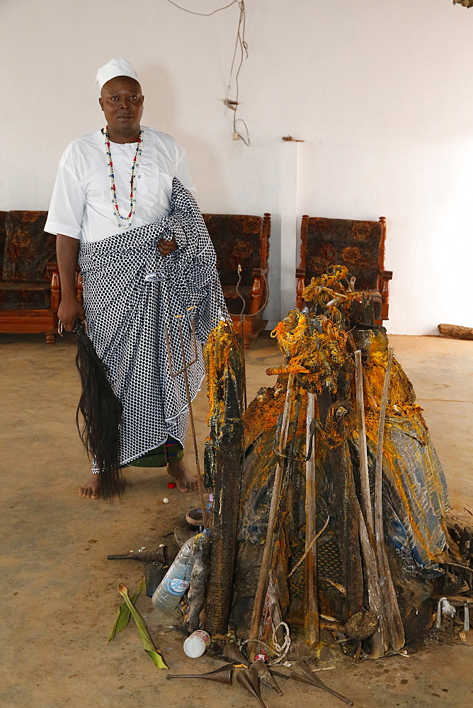 Voodoo temple priest Mathias Sogbe, Hadagon, Zou, Benin, West Africa, Africa