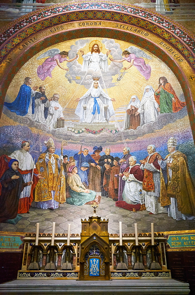 Mosaic of the The Coronation of the Virgin by Wencker dating from 1907, Notre-Dame du Rosaire Basilica, Lourdes, Hautes-Pyrenees, France, Europe