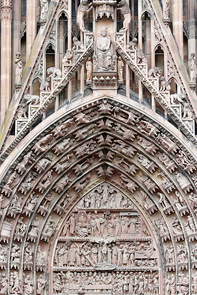 The Passion of our Lord on the western facade of Our Lady of Strasbourg Cathedral, Strasbourg, Alsace, France, Europe