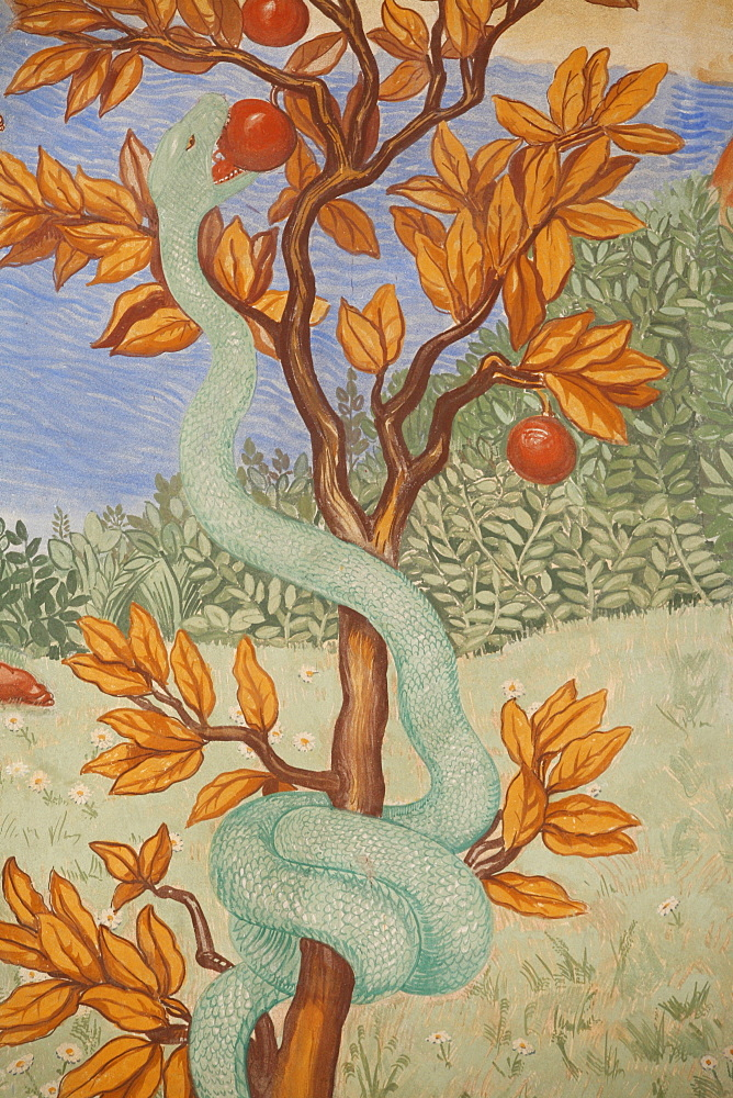 Detail of a fresco showing the serpent in the Garden of Eden, Puteaux, Hauts de Seine, France, Europe