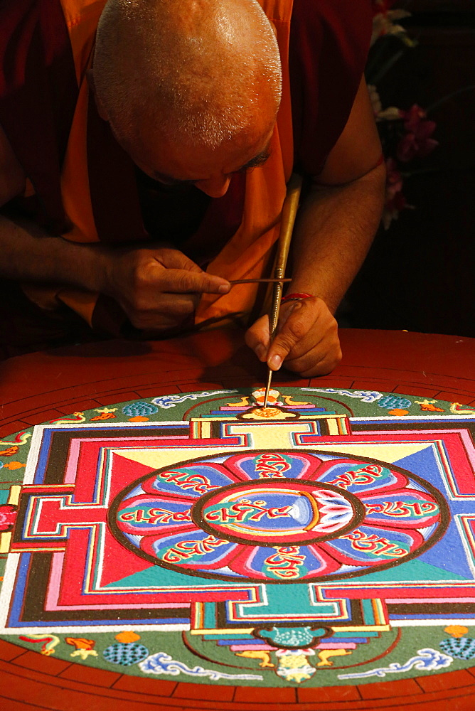 Buddhist sand Mandala, a spiritual and ritual symbol representing the Universe, Paris, France, Europe