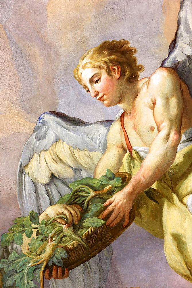 Angel holding a basket with roots, fresco by Johann Michael Rottmayrr, Karlskirche (St. Charles's Church), Vienna, Austria, Europe