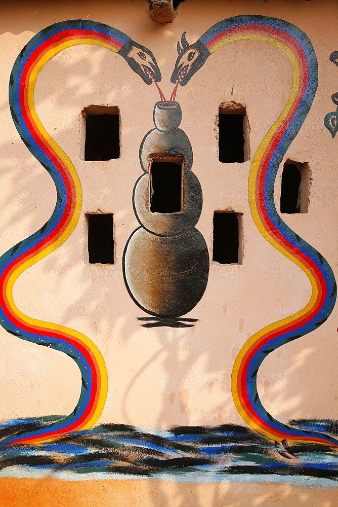 Painting showing Aihou Edo rainbow snakes, gods of the universe, on a Voodoo temple in Ouidah, Benin, West Africa, Africa