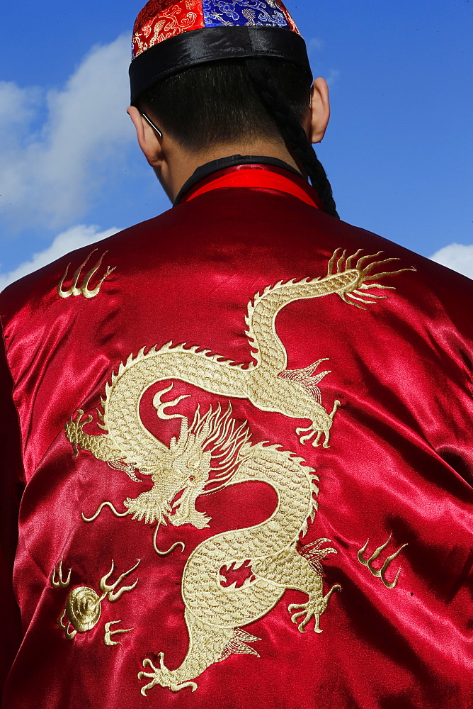 Detail of dragon on jacket, Chinese New Year, Paris, France, Europe