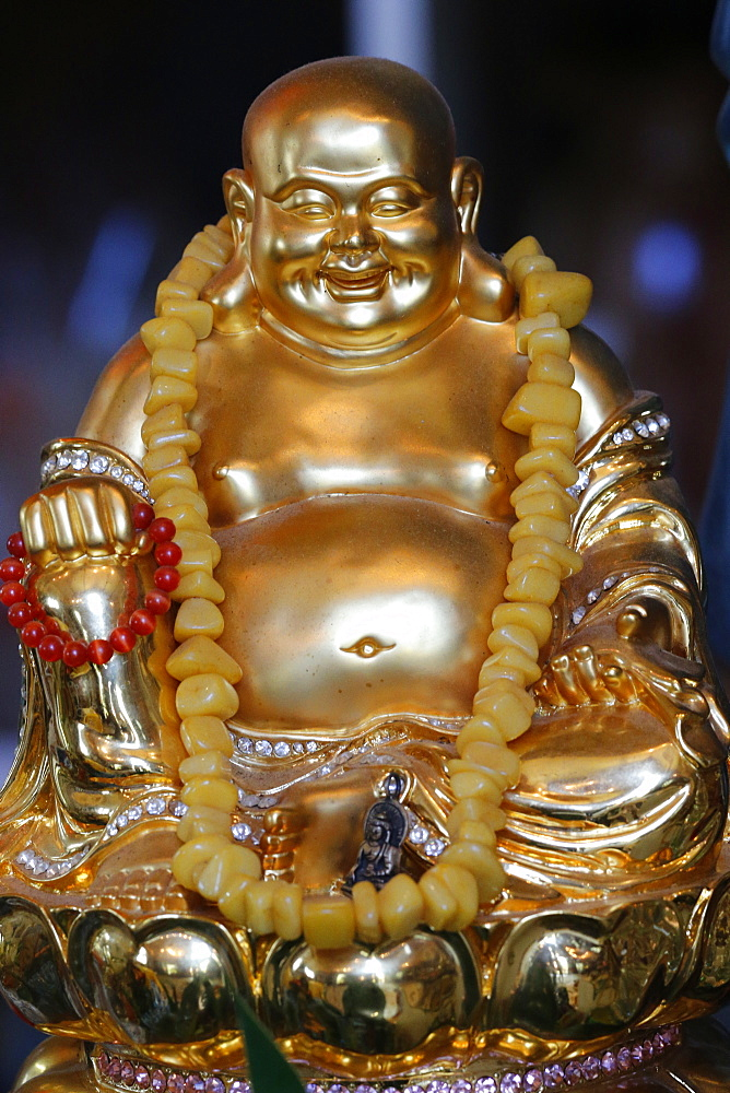 Happy Buddha statue, Tu An Buddhist Temple, Saint-Pierre-en-Faucigny, Haute Savoie, France, Europe
