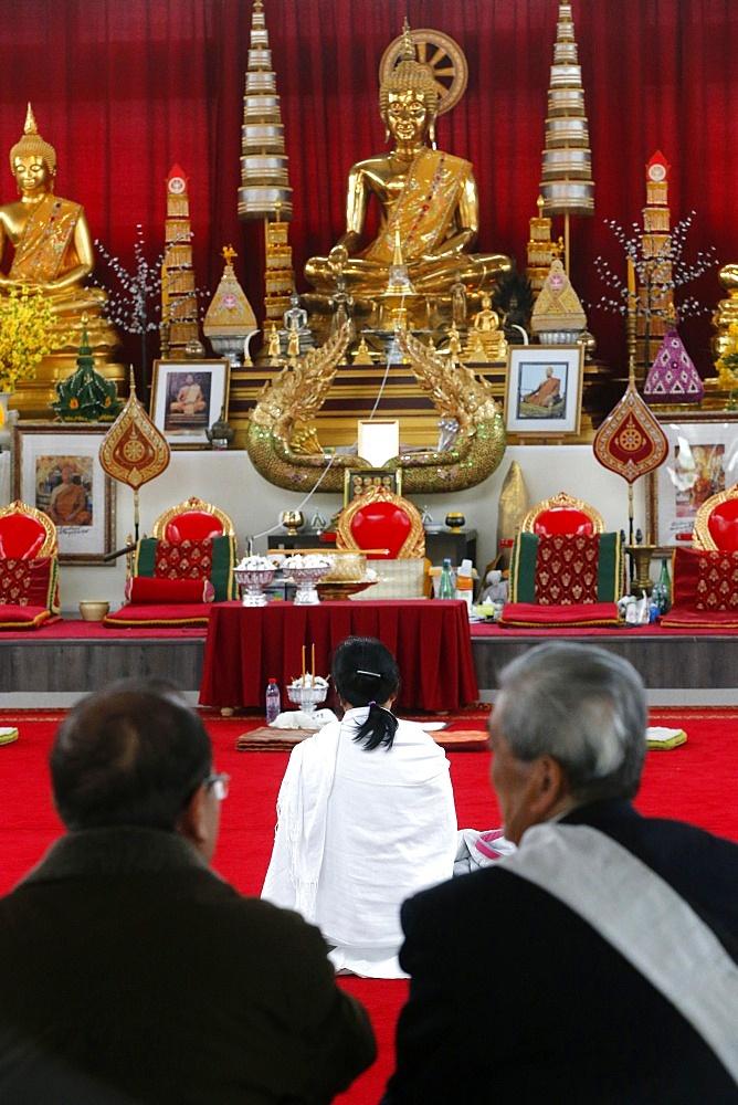 Buddhist prayers, Wat Velouvanaram, Bussy St. George, Seine et Marne, France, Europe