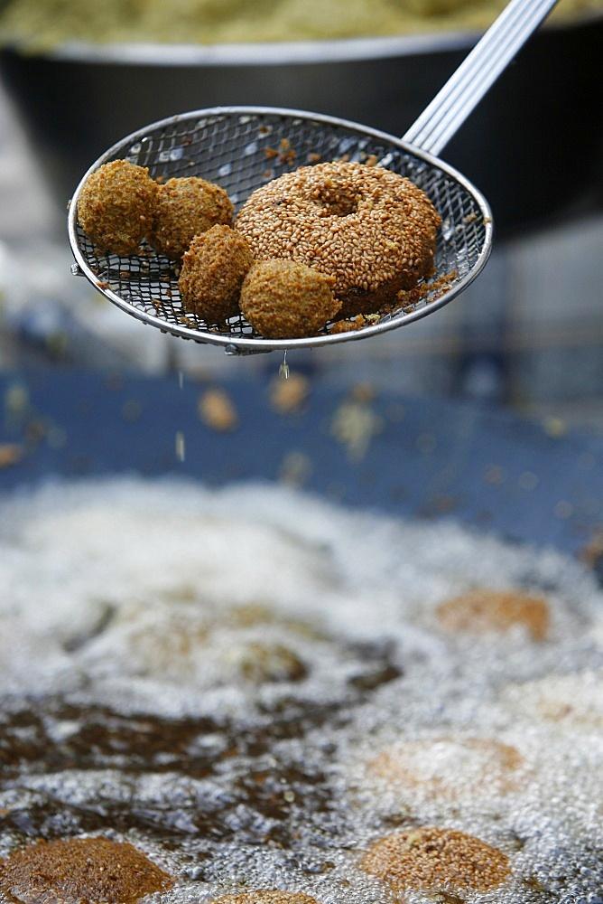 Falafel frying, Jerusalem, Israel, Middle East