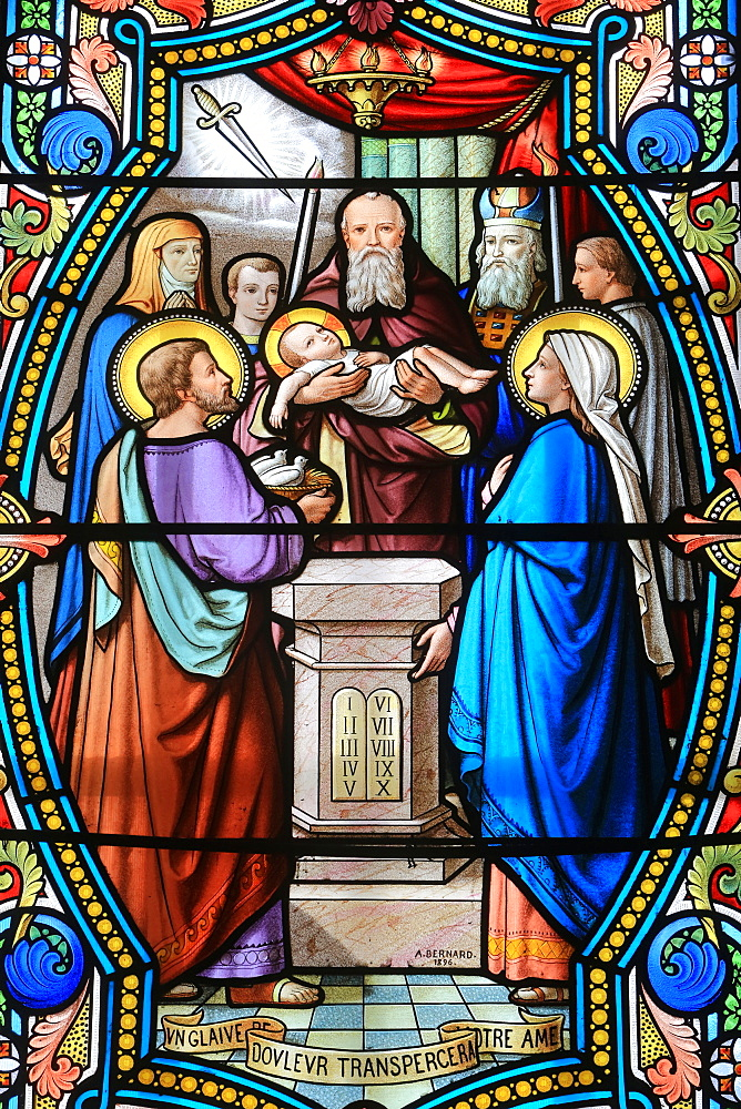 Stained glass window of Presentation of Jesus Christ at the Temple, Shrine of Our Lady of La Salette, La Salette-Fallavaux, Isere, France, Europe