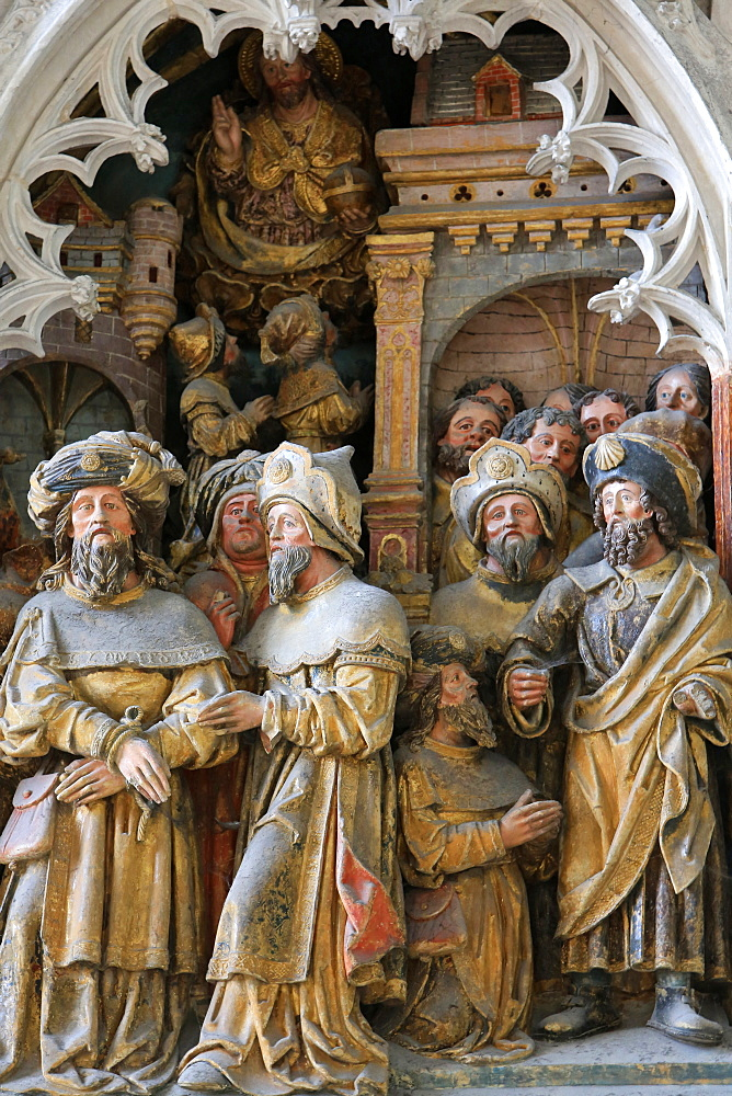 Life of St. Jacques le Majeur, Hermogenes is tied up, Withers issued and forgiven dating from 1511, high relief in the south transept, Beauvais Cathedral, Picardy, France, Europe