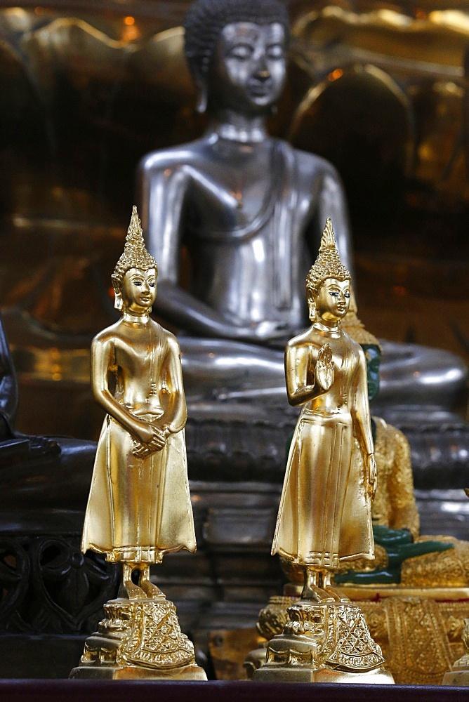 Buddha statues, main altar, Wat Velouvanaram, Bussy Saint Georges, Seine et Marne, France, Europe