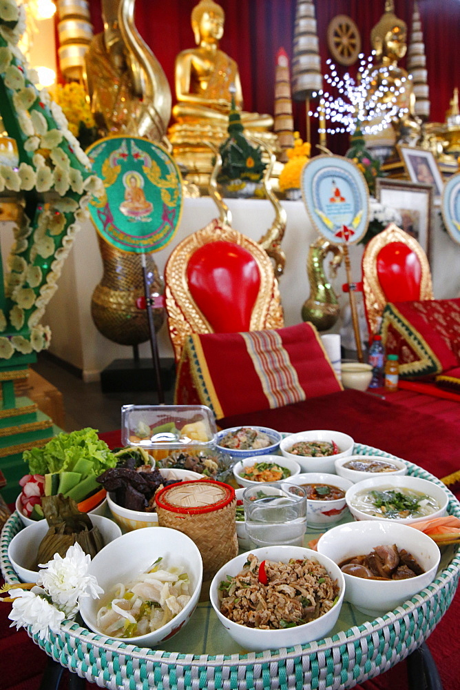 Offerings, Buddhist altar, Wat Velouvanaram, Bussy Saint Georges, Seine et Marne, France, Europe
