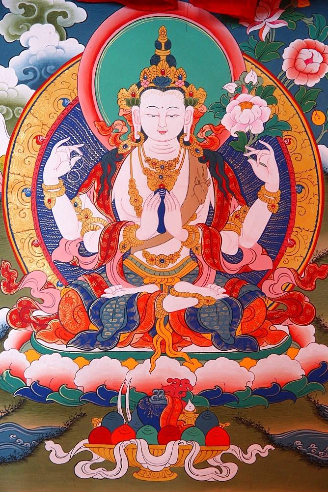 White Tara, Tibetan thanka, Shedub Choekhor Ling Monastery, Mont Saleve, Haute-Savoie, France, Europe
