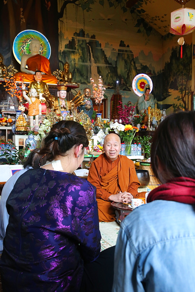 Learning Buddhism with a monk, Tu An Buddhist temple, Saint-Pierre-en-Faucigny, Haute-Savoie, France, Europe