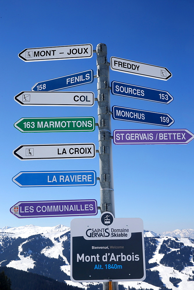 Skiing slope signs in Saint-Gervais les Bains, Haute-Savoie, France, Europe