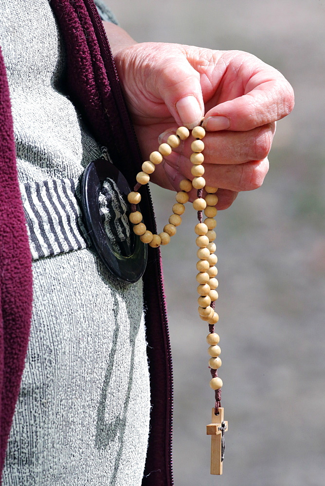 Hand-carved Roman Catholic rosary beads, woman praying The Mystery of the Holy Rosary, Haute Savoie, France, Europe
