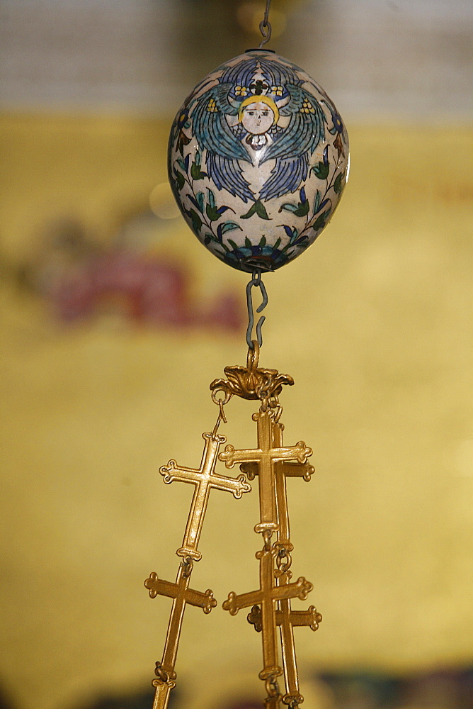 Egg and crosses, Church of the Holy Sepulchre, Jerusalem, Israel, Middle East