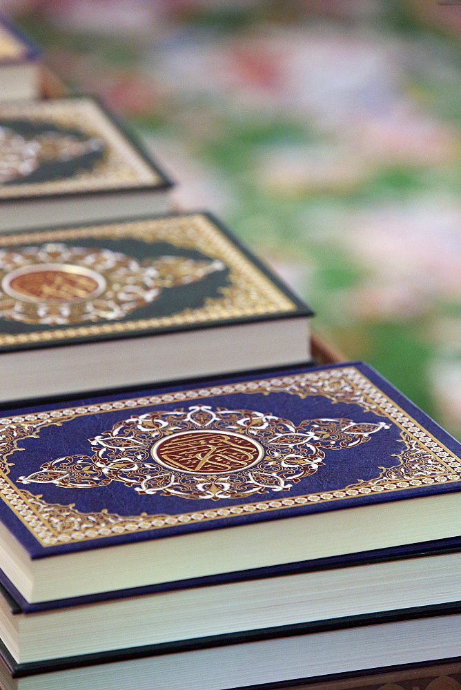 Detail of copies of The Koran inside Sheikh Zayed Grand Mosque, Abu Dhabi, United Arab Emirates, Middle East