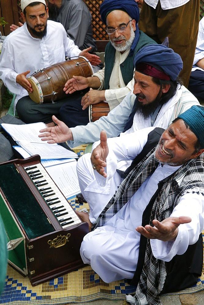 Qawali musicians performing, Urs of Mawlana Cheikh Muhammad Nazim Adil al-Haqqani in Lefke, Cyprus, Europe