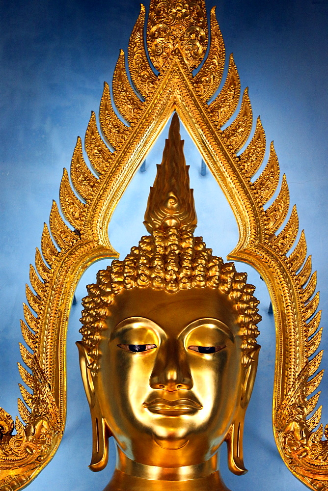 Detail, Golden Buddha statue, Wat Benchamabophit (Marble Temple), Bangkok, Thailand, Southeast Asia, Asia