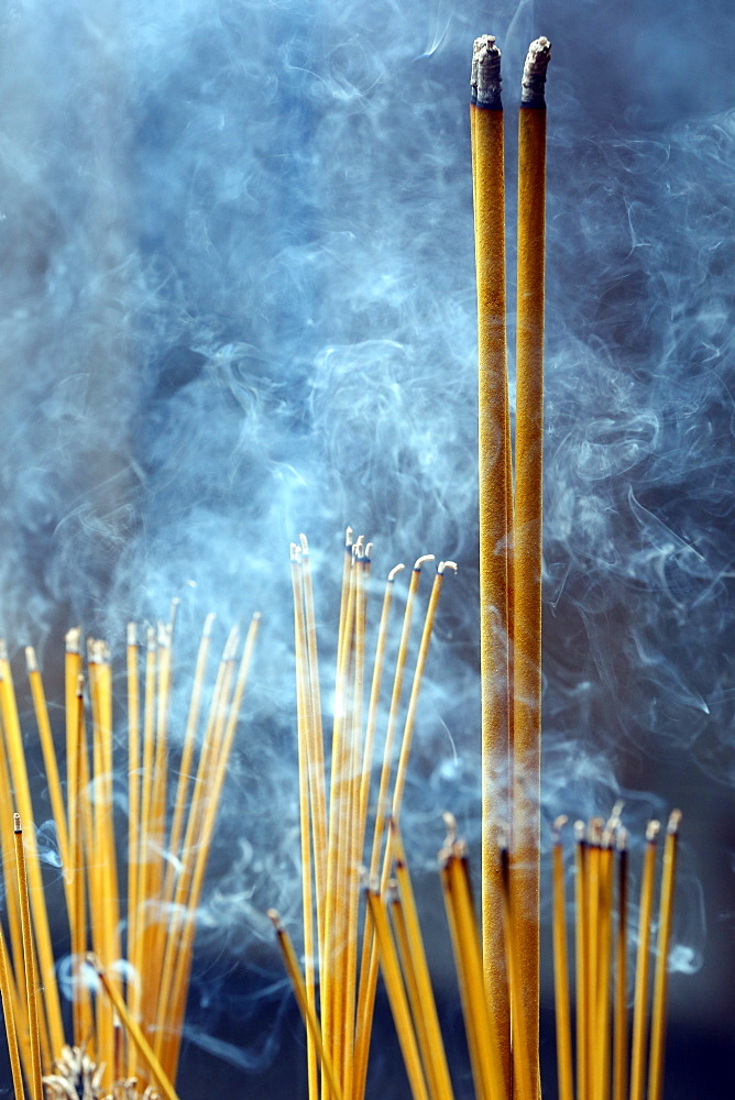 Incense sticks on joss stick pot burning and smoke used to pay respect to Buddha, Taoist temple, Phuoc An Hoi Quan Pagoda, Ho Chi Minh City, Vietnam, Indochina, Southeast Asia, Asia