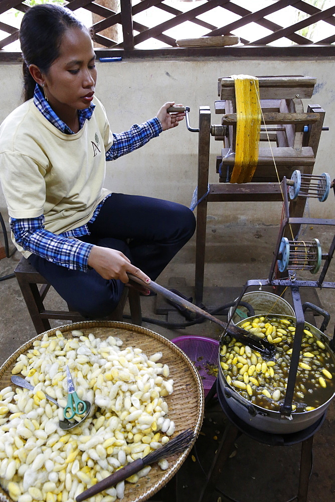 'Les artisans d'Angkor' silk workshop. Cambodia.