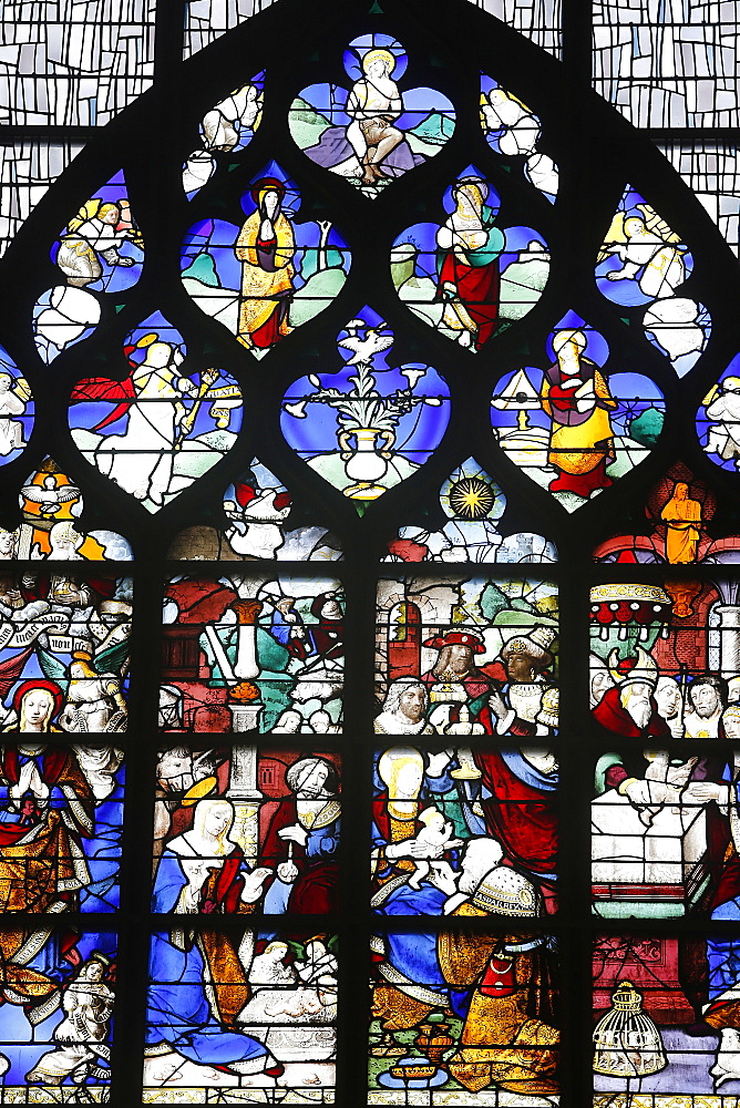 16th-century stained glass windows set in the north wall of Saint Joan of Arc's church, Rouen, Normandy, France, Europe