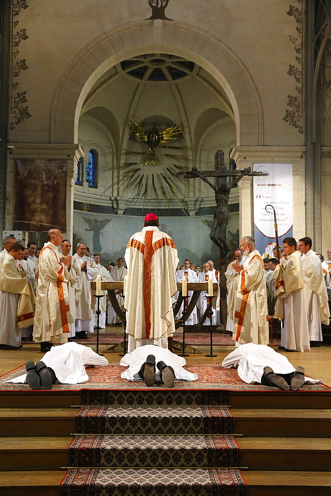 Deacon ordinations in Notre Dame du Travail Church, Paris, France, Europe