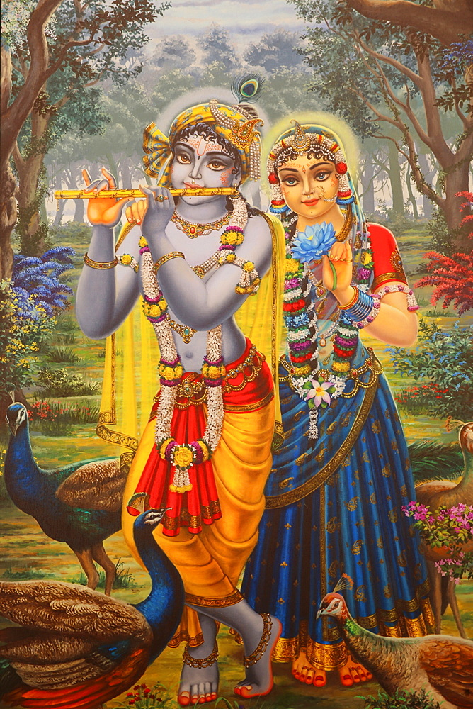 Painting depicting Hindu god Krishna with Radha, Vrindavan, Uttar Pradesh, India, Asia