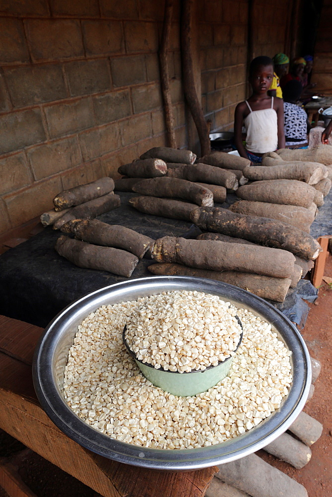 Corn and cassava in an African market, Togo, West Africa, Africa