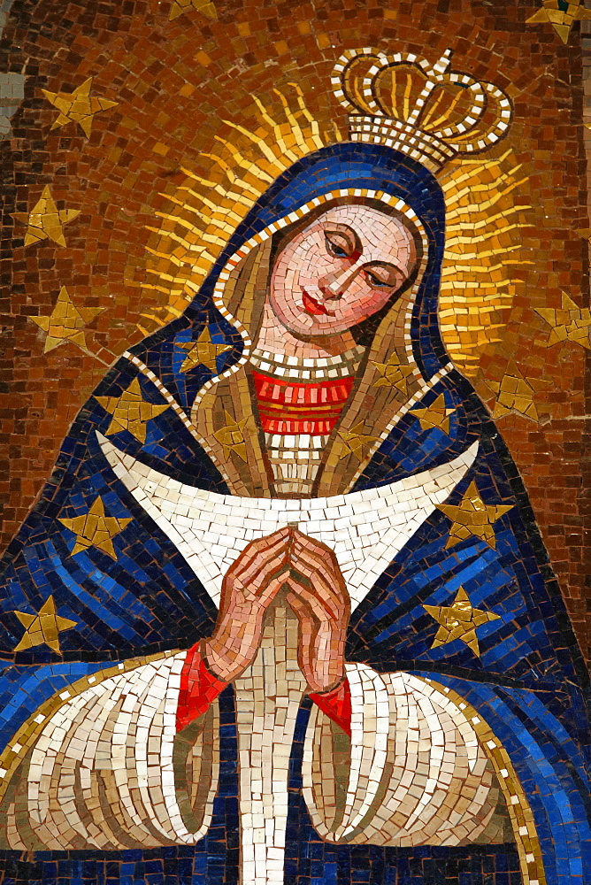 Mosaic of Slovenian Virgin, Annunciation Basilica, Nazareth, Galilee, Israel, Middle East