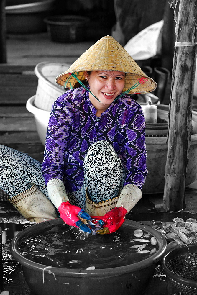 Woman sorting through fresh catch of fish, Vung Tau fish market, Vung Tau, Vietnam, Indochina, Southeast Asia, Asia