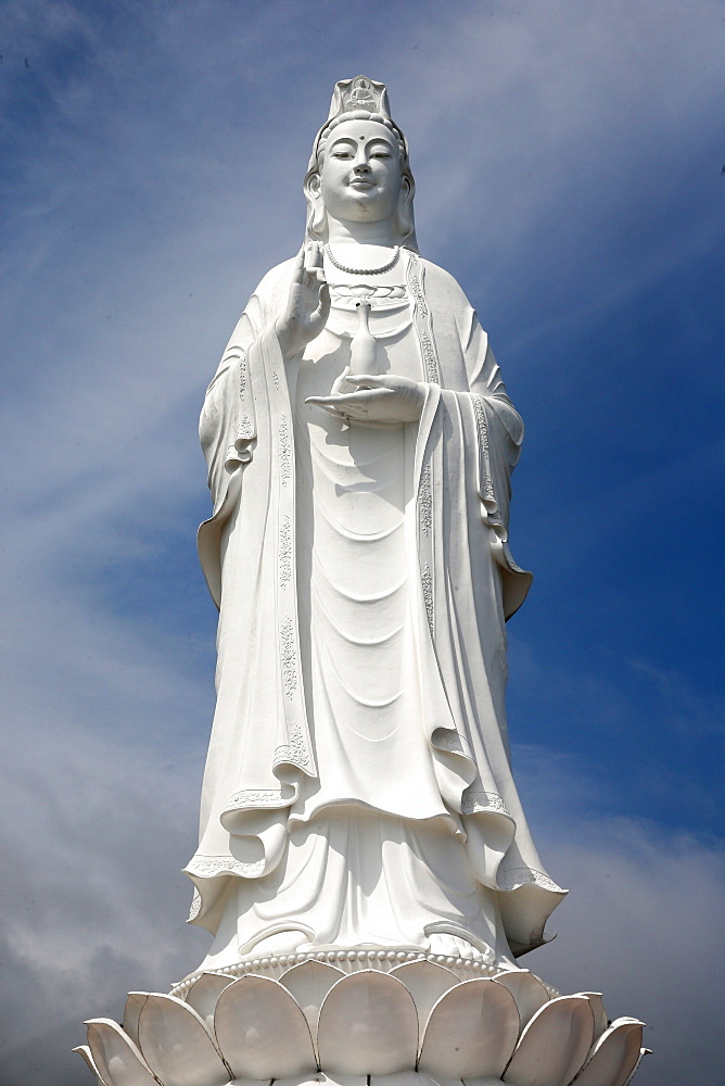 Linh Ung buddhist pagoda. Quan Am bodhisattva of compassion or goddess of Mercy or lady Buddha. Giant statue 67 m. Danang.