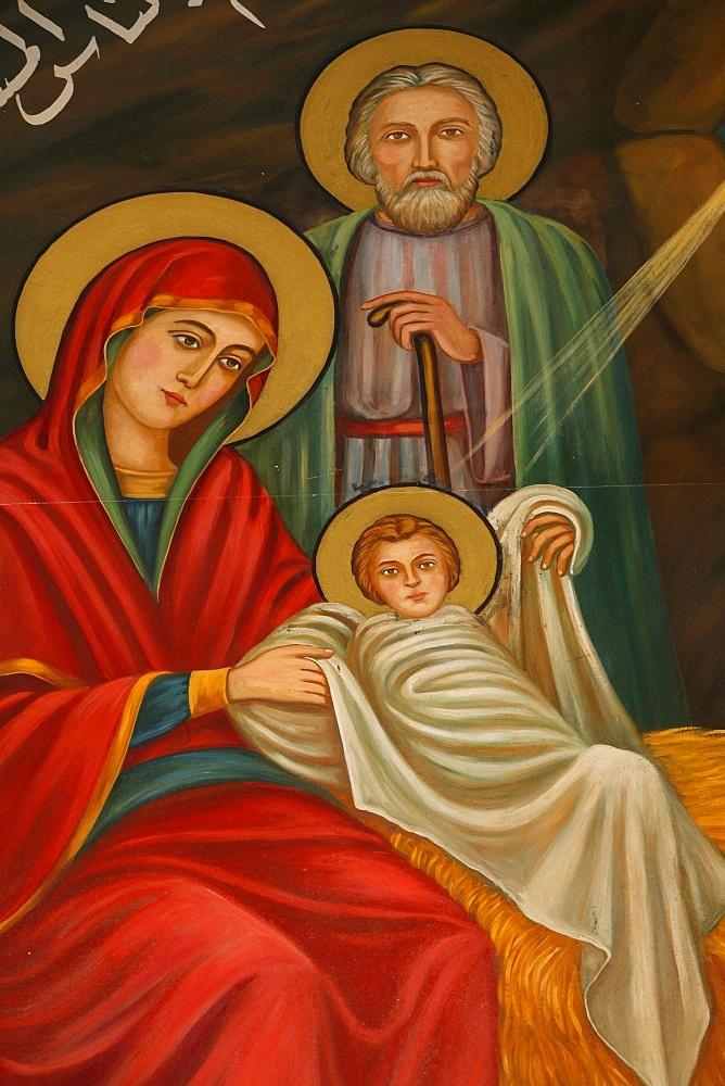 Painting of the Nativity, St. Anthony Coptic church, Jerusalem, Israel, Middle East