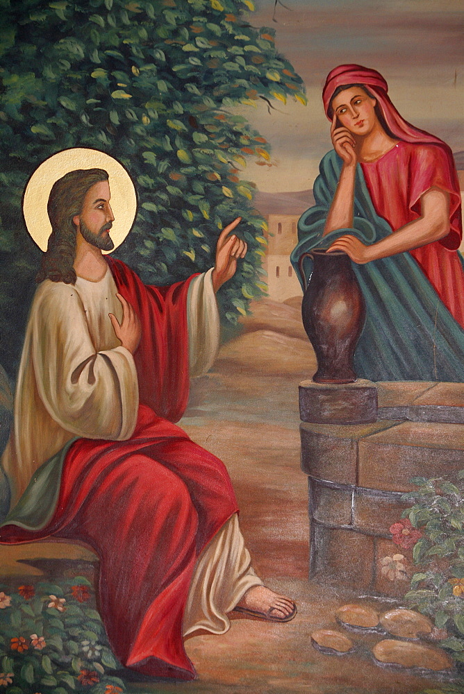 Painting of Jesus and the Samaritan woman, St. Anthony Coptic church, Jerusalem, Israel, Middle East