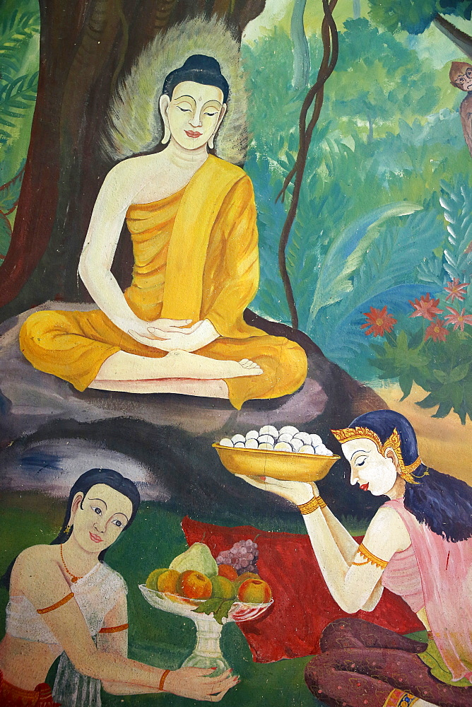 Fresco in Wat Ampharam, Hua Hin. Food offerings to Buddha. Thailand