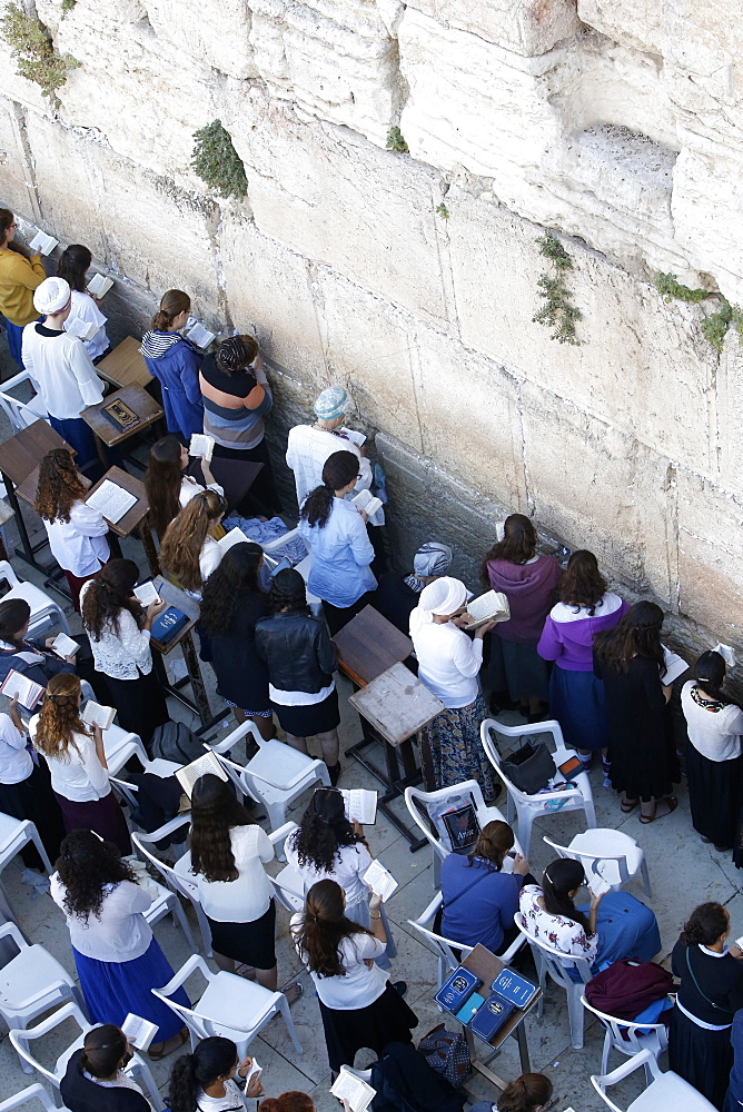 Section of the Western Wall reserved for women, Jerusalem, Israel, Middle East
