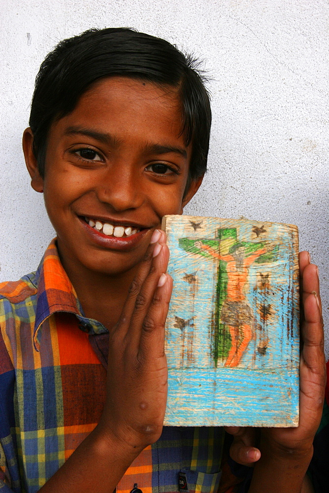 Catholic boy in a center run by the organisation Mass Education, Mathurapur, West Bengal, India, Asia