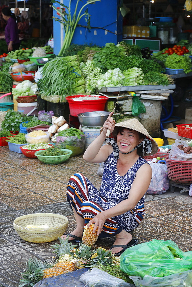Traditional market vegetables shop, Ha Tien, Vietnam, Indochina, Southeast Asia, Asia