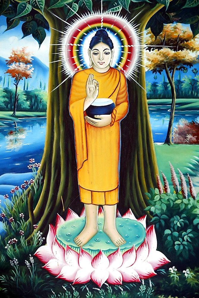 Pitu Khosa Rangsay buddhist pagoda. The Life of the Buddha, Siddhartha Gautama. Can Tho. Vietnam.