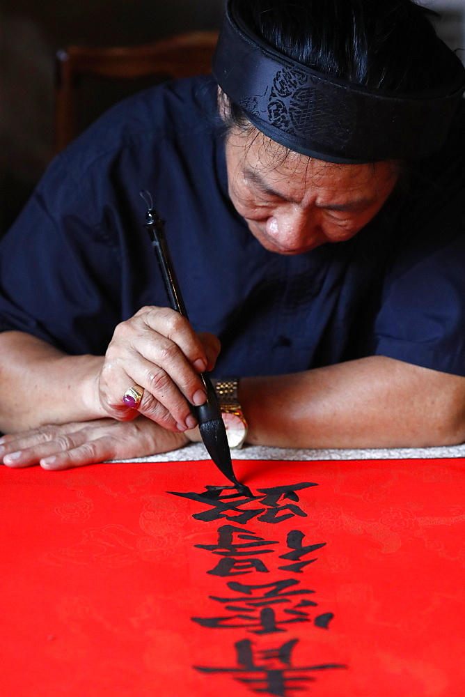 Man doing traditional Chinese writing (calligraphy) in ink using a brush, The Temple of Literature, Hanoi, Vietnam, Indochina, Southeast Asia, Asia - 809-7919