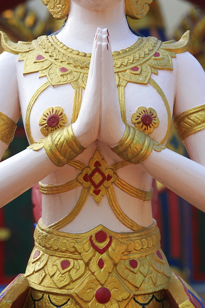 Detail of Apsara statue, Wat Chayamangkalaram, Penang, Malaysia, Southeast Asia, Asia