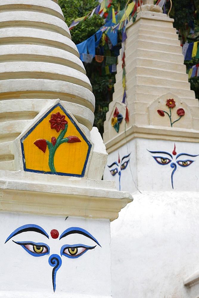 Close-up of the Eyes of Buddha, Swayambhunath temple, Kathmandu, Nepal, Asia