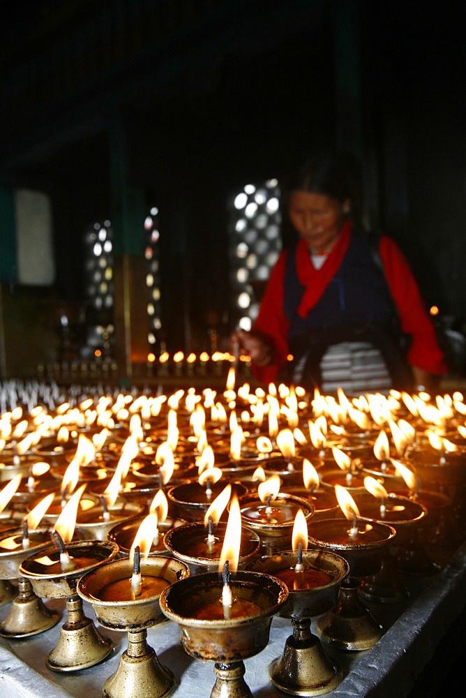 Butter lamps, Swayambhunath temple, Kathmandu, Nepal, Asia