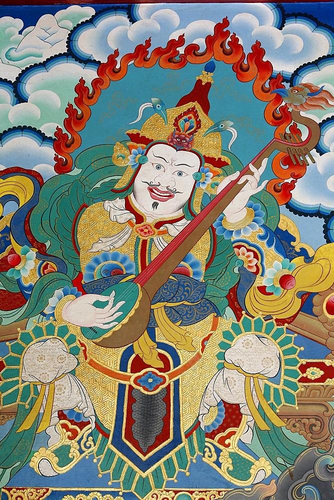 Temple guardian guarding the East and spring, named Dhritarashtra, Kopan monastery, Kathmandu, Nepal, Asia - 809-929
