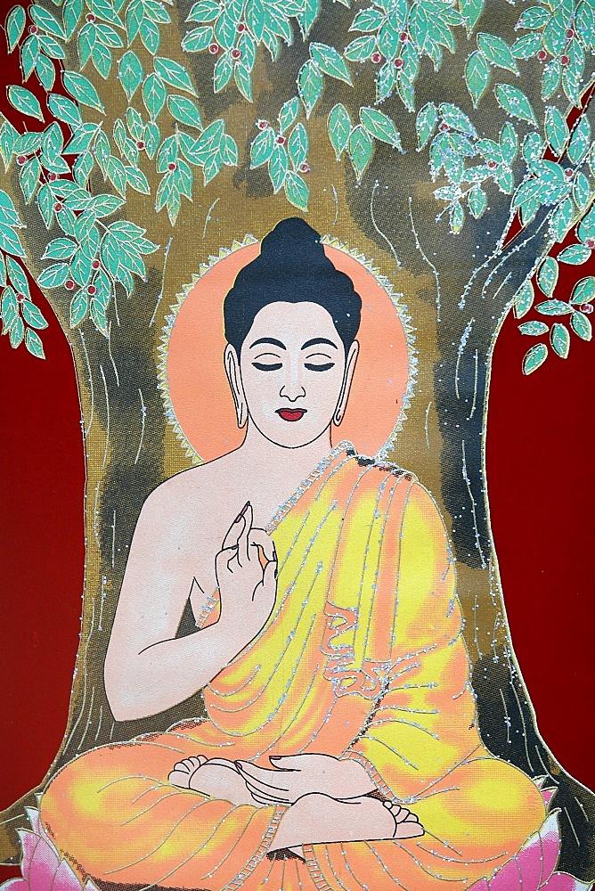 Thangka painting of the Buddha giving a blessing, Kathmandu, Nepal, Asia
