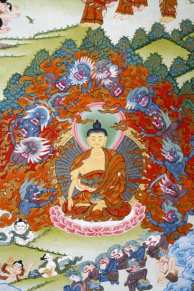 Thangka painting of the Buddha Sakyamuni surrounded by temptation, Bhaktapur, Nepal, Asia