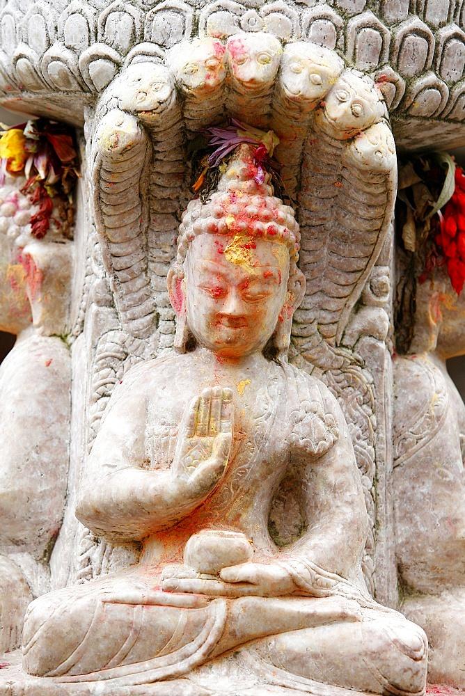 Buddha bestowing blessing, Kirtipur, Nepal, Asia