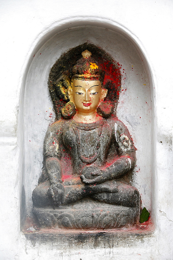 Buddha of knowledge, Swayambhunath Temple, Kathmandu, Nepal, Asia