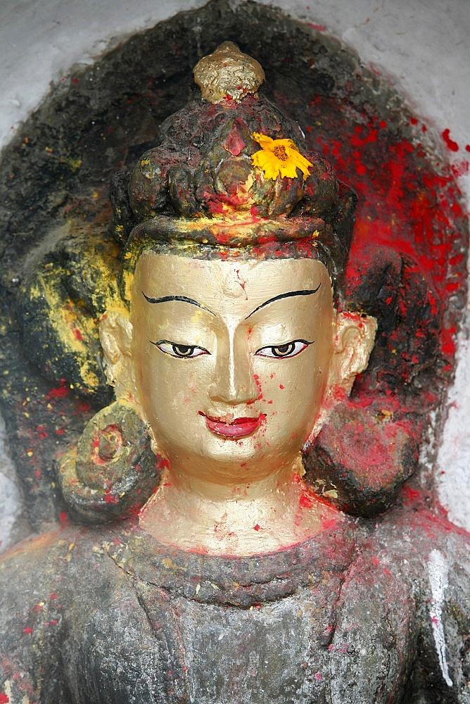 Close-up of statue of the Buddha in Swayambhunath Temple, Kathmandu, Nepal, Asia